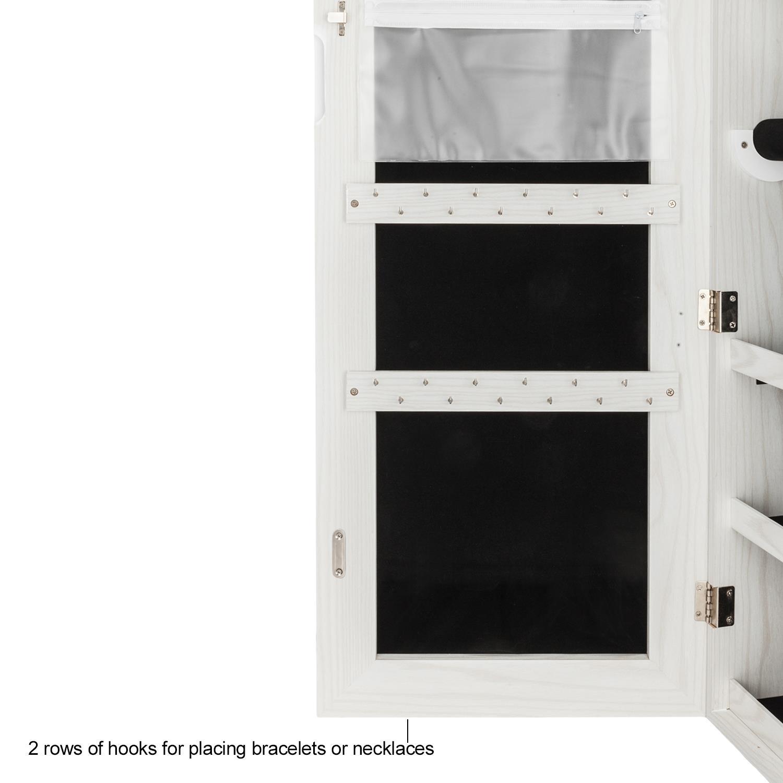 Lockable Mirror Jewelry Cabinet Armoire Makeup Storage Box ...